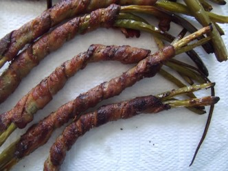 bacon-wrapped garlic scapes