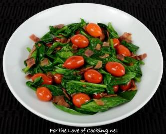 Spinach, Bacon, Tomato Sauté